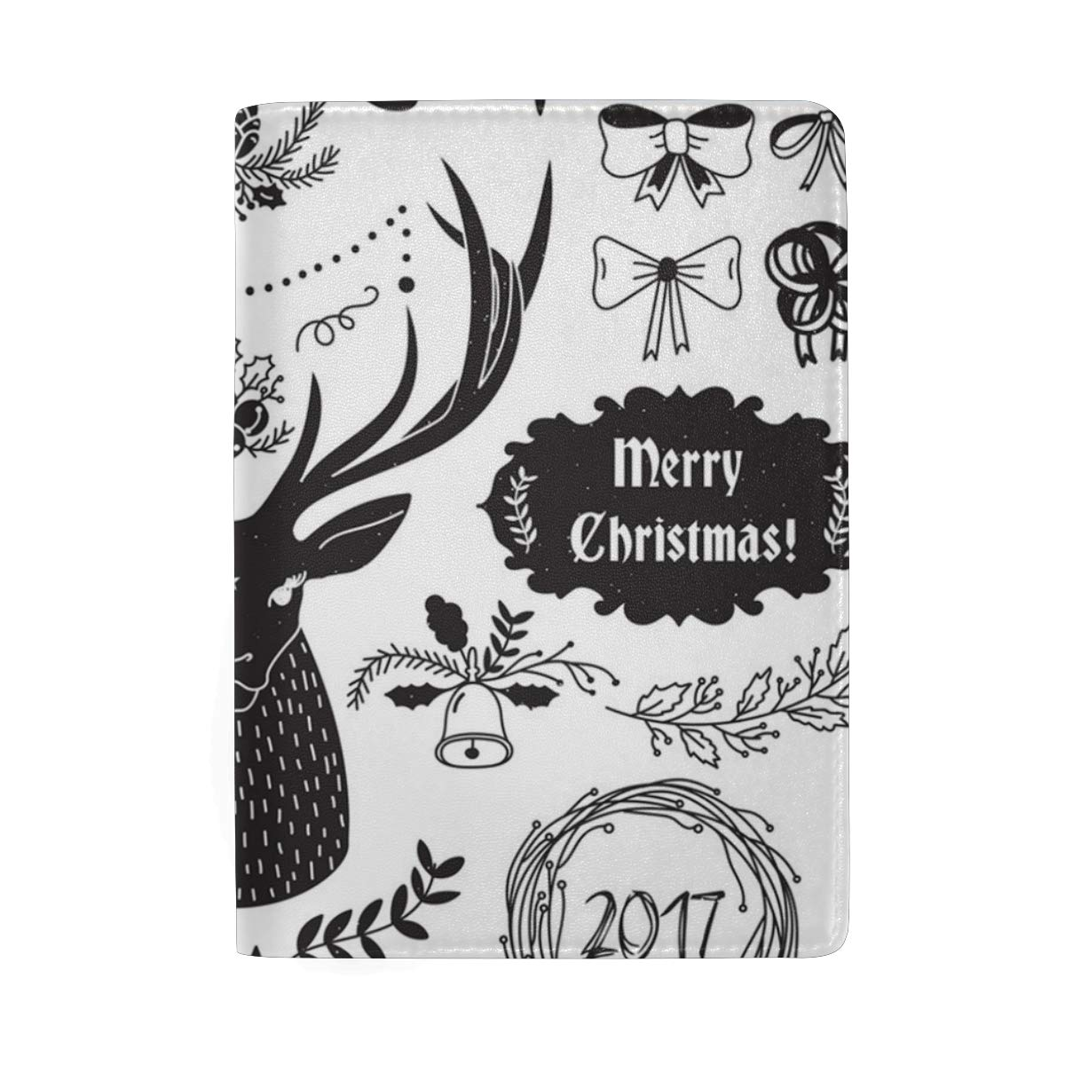White Merry Christmas Sign Leather Passport Holder Cover Case Blocking Travel Wallet