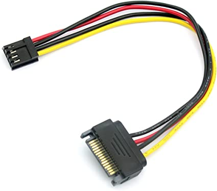 BGNing 20cm Floppy Drive 4Pin to SATA Male Power Cable Adapter SATA 15PIN to 4Pin Power Cable 18AWG Wire Connector for Computer PC
