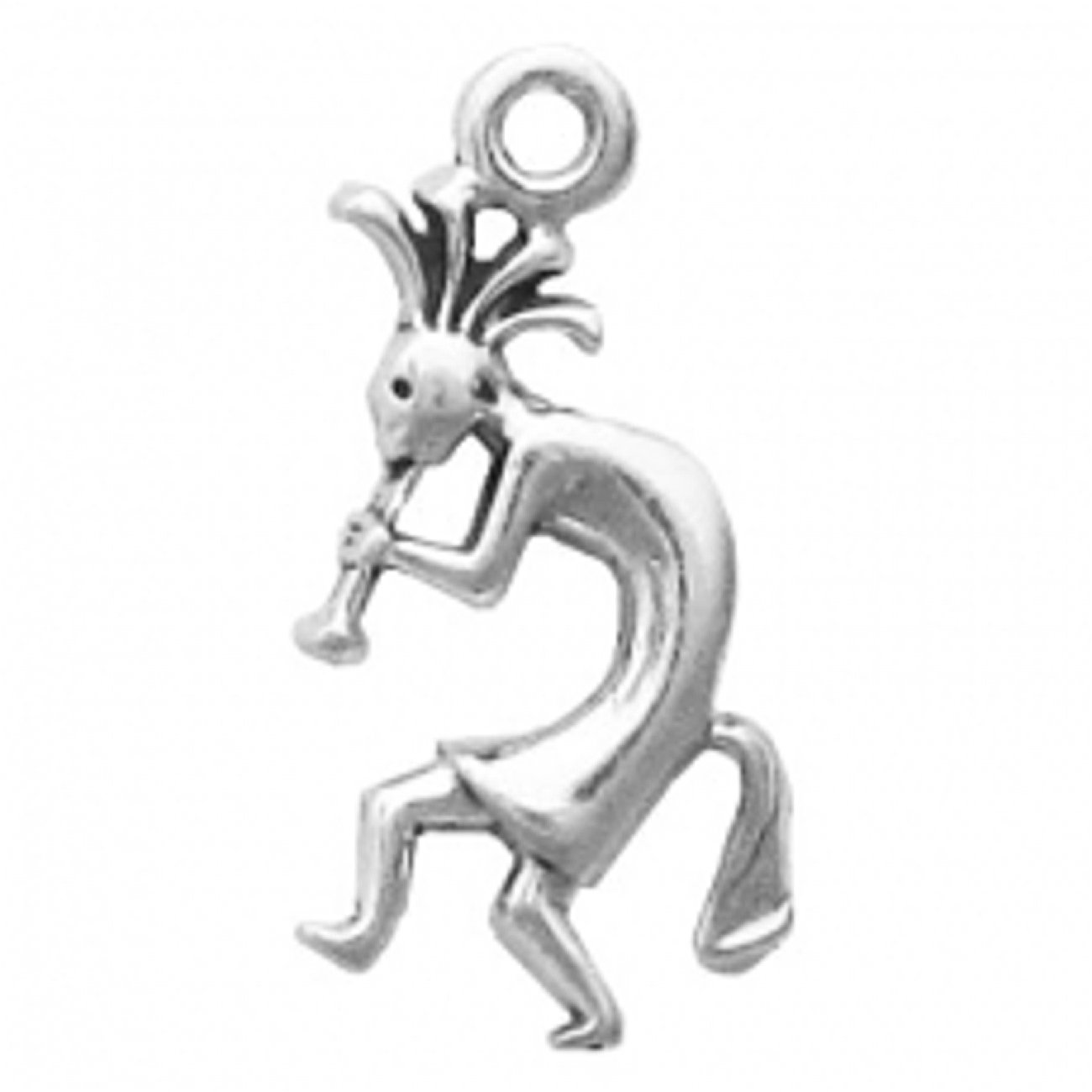 Sterling Silver Mini Flute Playing Kokopelli Facing Left Charm
