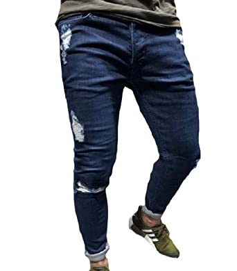 0a4d165724a4 Unastar Men Trim-Fit Harem Tapered Broken Hole Trousers Relaxed-Fit Jean  Dark Blue