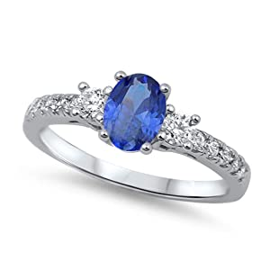 Solitaire Accent 3 Stone Wedding Engagement Ring Oval Cut Simulated Sapphire Round CZ 925 Sterling Silver
