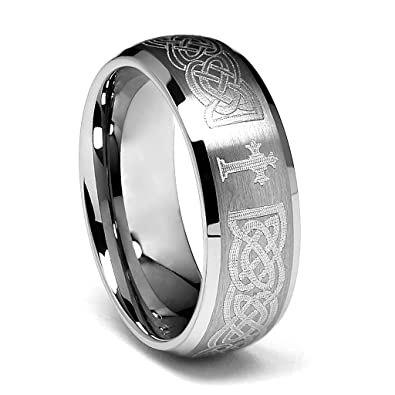 8mm braid pattern laser engraved celtic design mens tungsten wedding band size 8