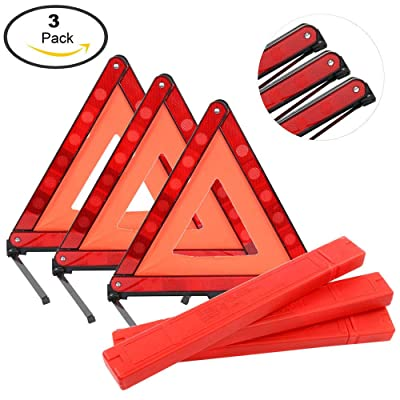Mottdam Triple Warning,3PCS Reflective Triangle Warning Sign Car Hazard Road Emergency Breakdown Board,Triangle Reflector Safety Triangle Kit (Red): Home Improvement