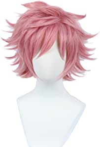 Linfairy Anime Cosplay Wig Short Halloween Costume Hero Wig (pink) not style