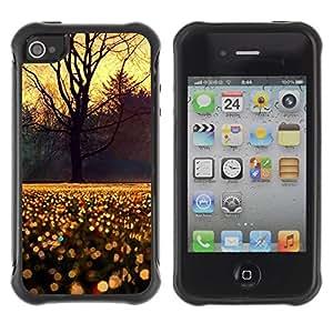 LASTONE PHONE CASE / Suave Silicona Caso Carcasa de Caucho Funda para Apple Iphone 4 / 4S / Sky Tree Rain Morning Sunrise