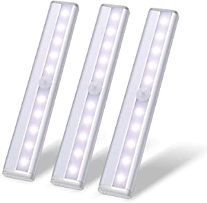 10 LED Closet Motion Activated Light,Under Cabinet Lights,Homelife Sensor Nightlight,Wireless Cordless Stick-on Battery Operated Aluminium Alloy Night,for Stairs,Wardrobe,Kitchen,Hallway(3P WarmWhite)