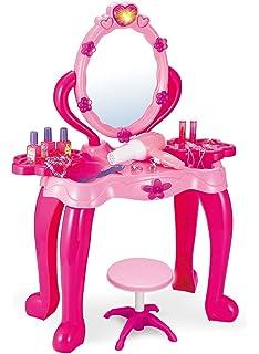 Vinsani Girls Princess Dressing Table Stool Play Set Features Vanity Light  U0026 Music