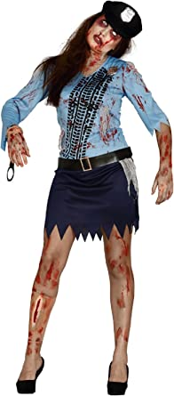 Ladies Zombie Bloody Police Woman Officer Halloween Fancy Dress Costume Outfit