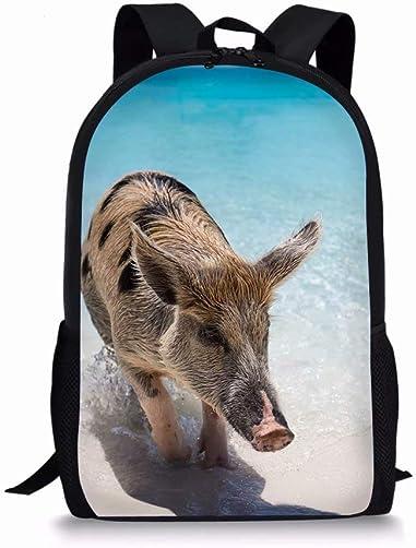 Cute Bookbags 17 inch Backpack Pig Print Lightweight Daypacks