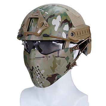 haoYK Casco Deportivo Multiusos Protector táctico Casco Airsoft Paintball MH Tipo rápido Casco Gafas máscara Multicam
