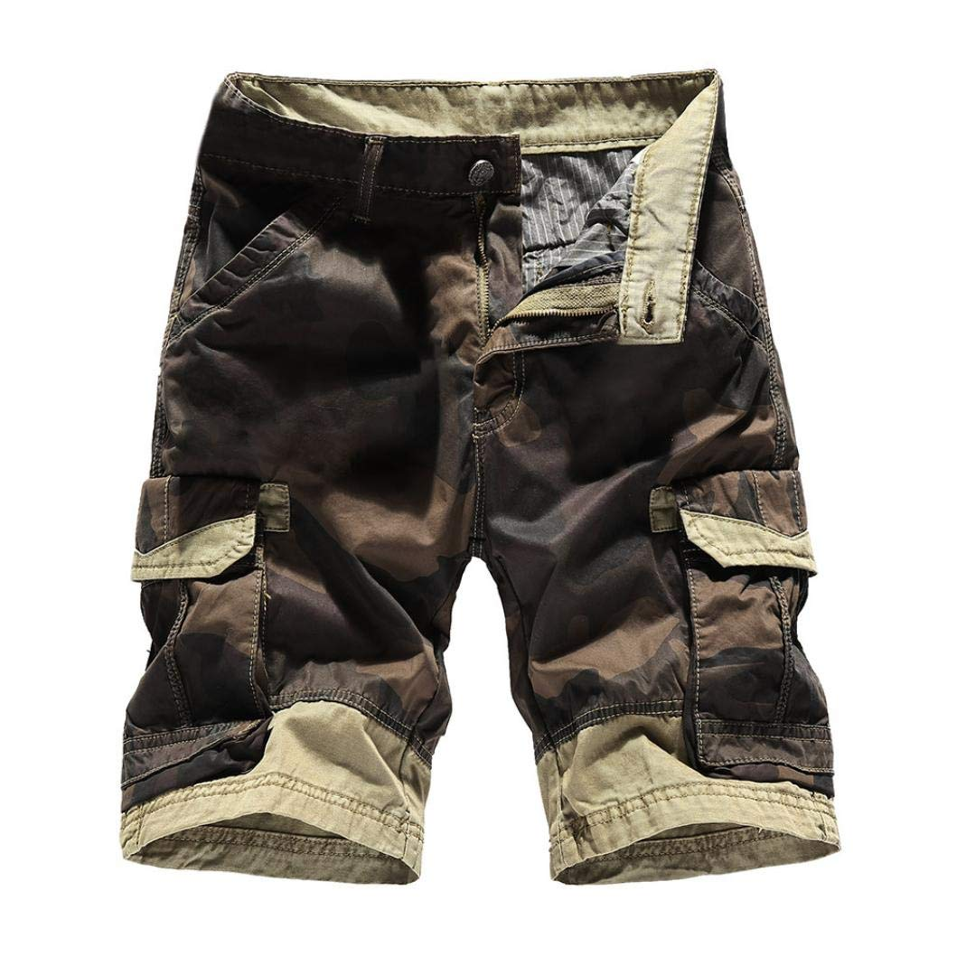 Dacawin Multi-Pockets Casual Camouflage Cargo Short Pants Men Relaxed Fit Outdoors Work Beach Trousers