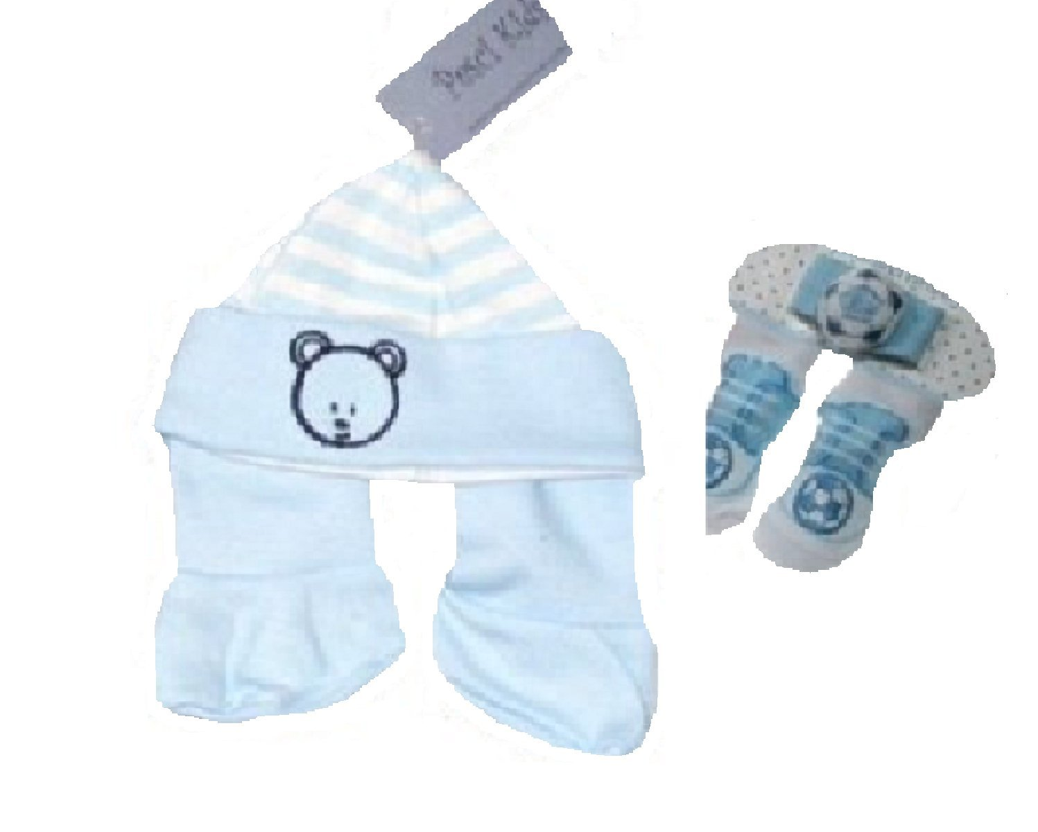 4 Piece Gift Set with Hat Booties Socks and Wristband for Newborn