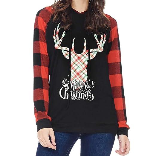womens christmas long sleeve tunic tops tee shirt amydong colorblock elk head print blouse black
