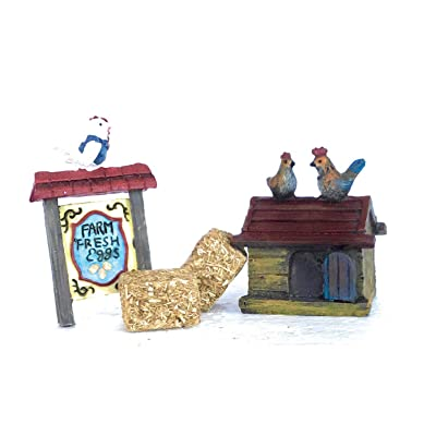 "TFC 4 pc Miniature Chicken Coop with ""Fresh Egg"" Sign and Hay Bales, for Fairy and Gnome Miniature Gardens, Doll Houses, Terrariums, DIY Home Decor : Garden & Outdoor"