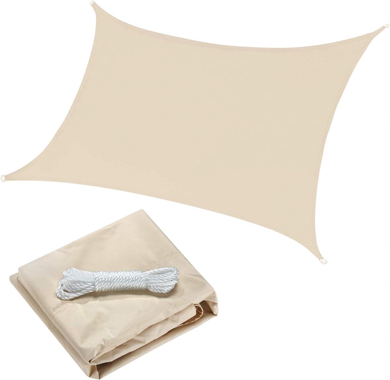 OYE HOYE 7 x 13 Sun Shade Sail Beige Rectangle Waterproof Polyester Canopy Sail Shade UV Block for Grade Outdoor Patio Garden Backyard Sand