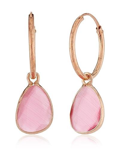 Córdoba Jewels | Pendientes en plata de Ley 925 bañado en oro rosa y piedra semipreciosa. Diseño Aro rosa de Francia: Amazon.es: Joyería