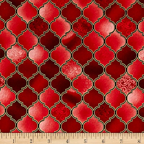 Holy Gathering Metallic Stained Glass Ruby Fabric By The Yard - Stained Glass Fabric