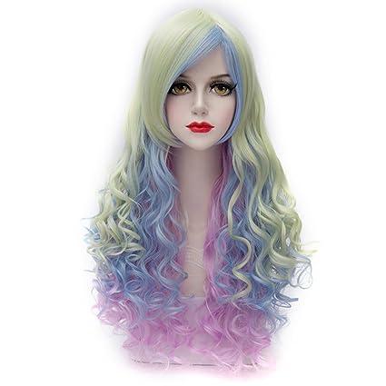 MQ Cosplay peluca Neat Bangs largo rizado pelo de disfraces pelucas Multicolor (cyan-blue