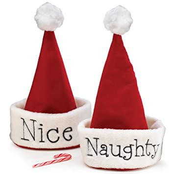 4683e867ea8 Amazon.com  Santa Christmas Hat with Hand Stitched Naughty Or Nice ...