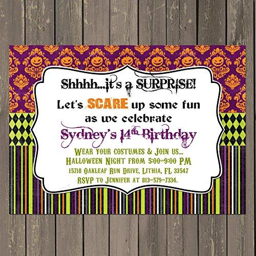 Halloween Party Invitation, Adult Halloween Party Invitation, Set of 10 5x7 invitations with white envelopes -