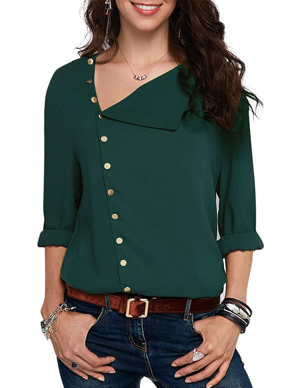 CCBETTER Women Long Sleeve Chiffon Shirts Button Detail Casual Loose Blouse Tops