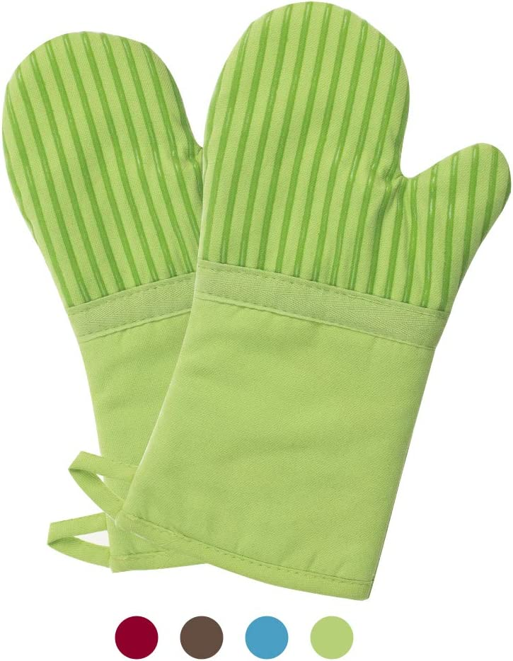 Buzhan Oven Mitts 1 Pair of Quilted Cotton Lining - Heat Resistant to 500 Degrees Kitchen Gloves,Flame Oven Mitt Set (Green, Cotton)
