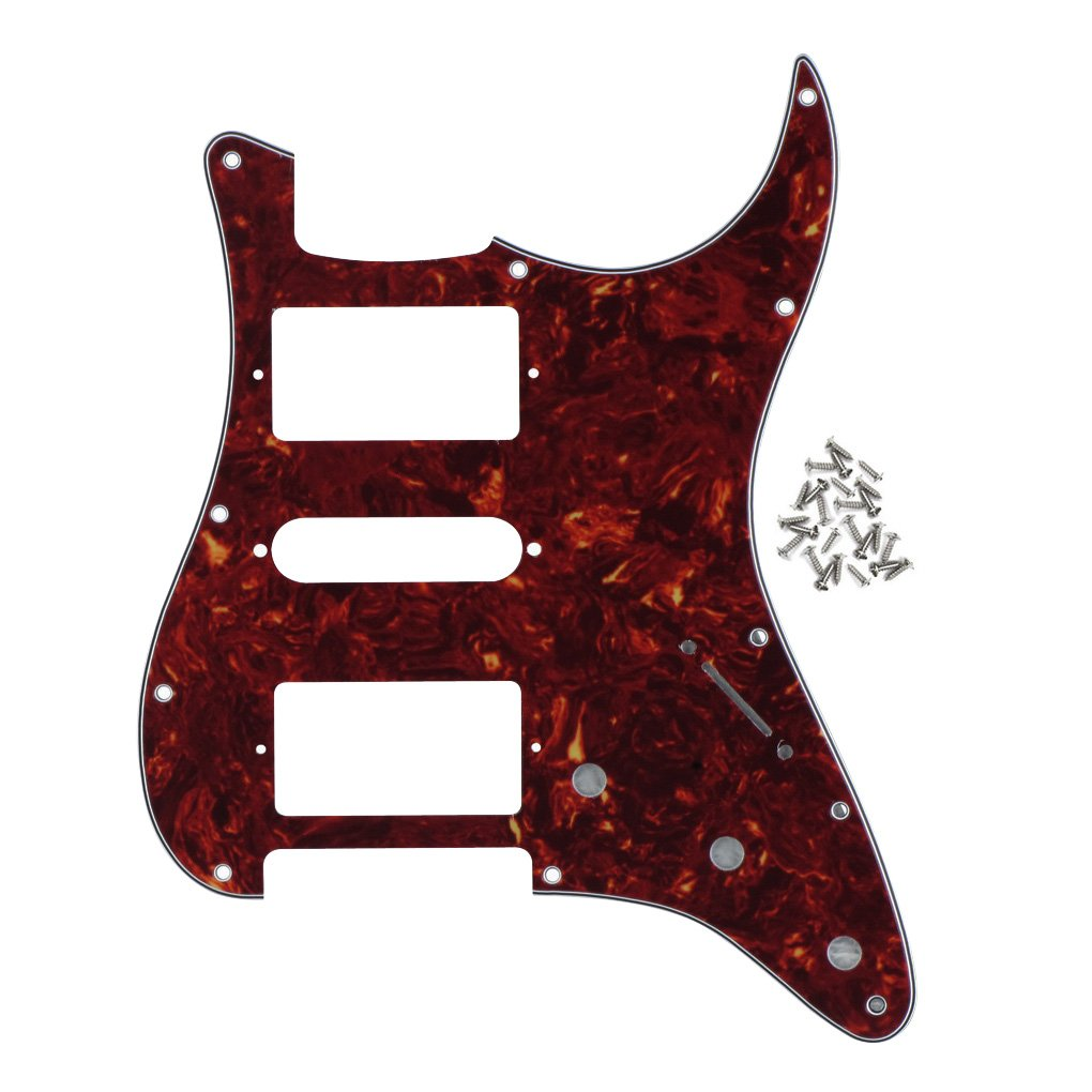 FLEOR 11 Hole Standard Strat Style Guitar Pickguard HSH Scratch Plate for Fender Style, 4Ply Red Tortoise