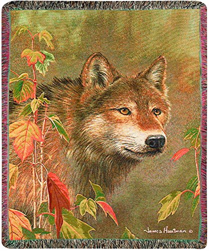 Manual The Lodge Collection 50 x 60-Inch Tapestry Throw with Fringe, Hidden in The Mist by James Hautman - Mist Fringe