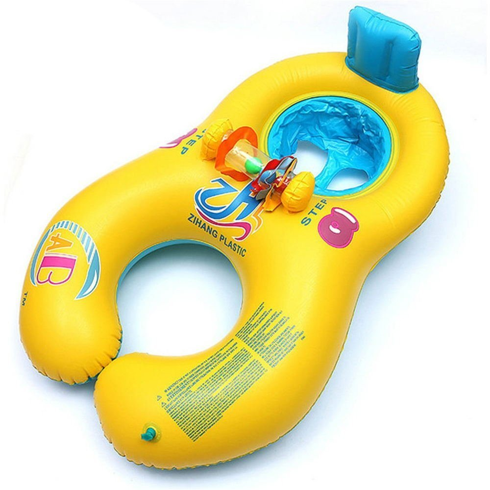 Safe Floater, Mother and Baby Swimming Ring with Kids Seat Double Person Swimming Circle Baby Safety Float Seat Pool Toy (yellow) Jiuhexu