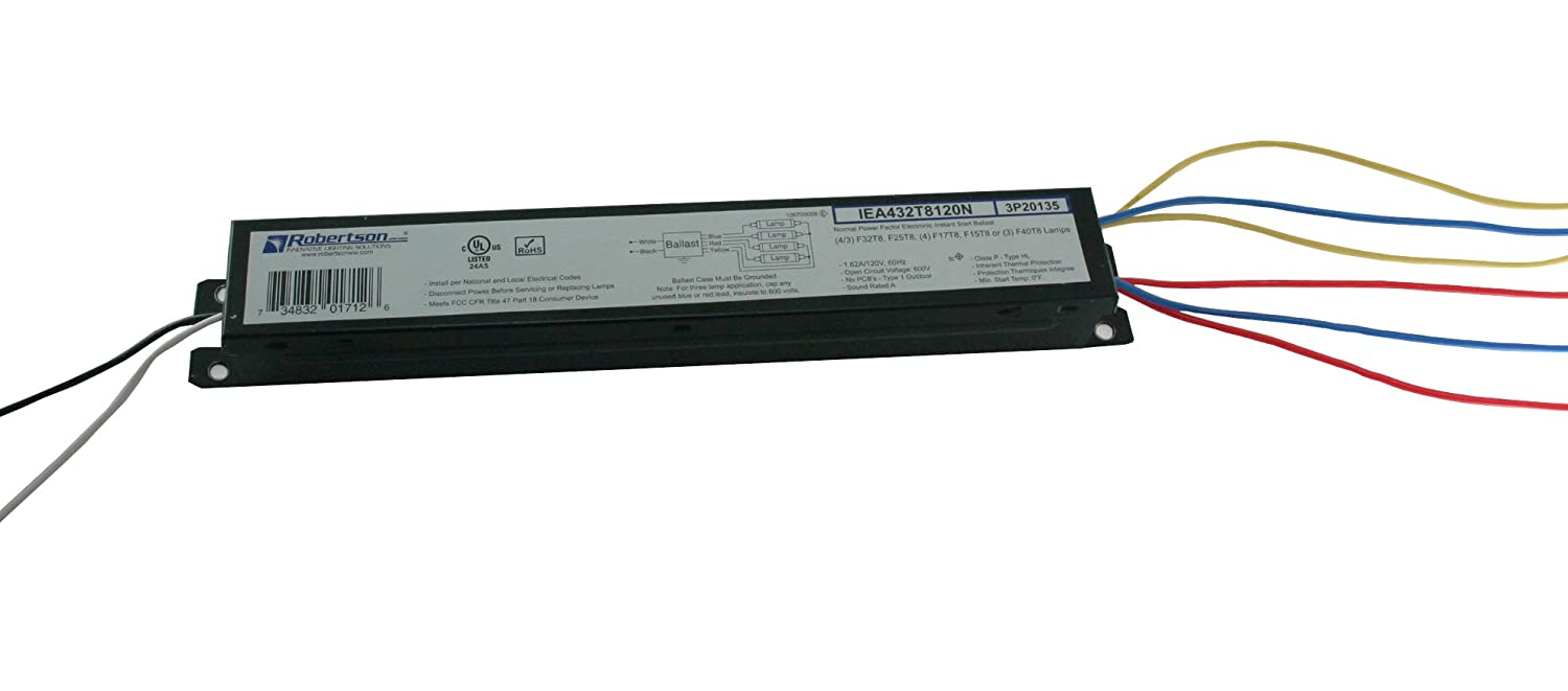 ROBERTSON 3P20135, IEA432T8120N /B Fluorescent eBallast for 4 F32T8 Linear Lamps, Instant Start, 120Vac, 60Hz, Normal Ballast Factor, NPF (Replaces Robertson 3P20001, Model ISL432T8120 /B)