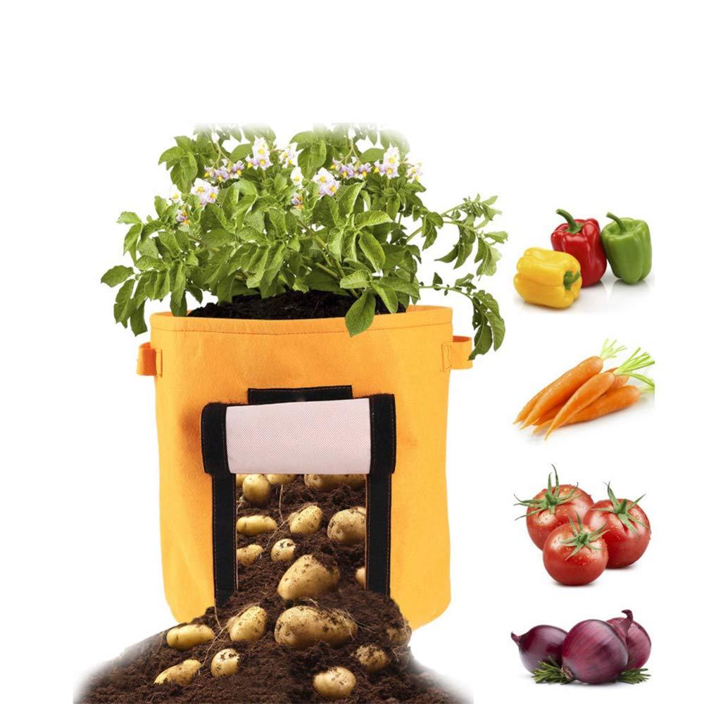 Zanahoria Tomate y Cebolla etc Verde,Marr/ón,Negro gotyou 3 Pcs Bolsas de Cultivo de Papa,Bolsa de Cultivo de Plantas,Sacos para Plantas con Ventana de Velcro para en Jardin para Papa