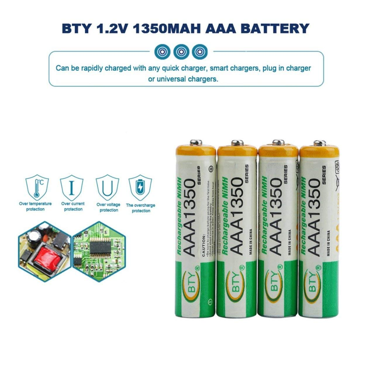 4pcs BTY 1.2V AAA 3A 1350mAh Ni-MH Rechargeable Battery for RC Toys Camera