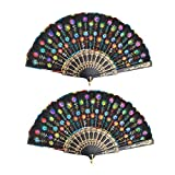 uxcell® Fabric Lady Outdoor Chinese Style Summer Folding Craft Hand Fan 2 Pcs Multicolor