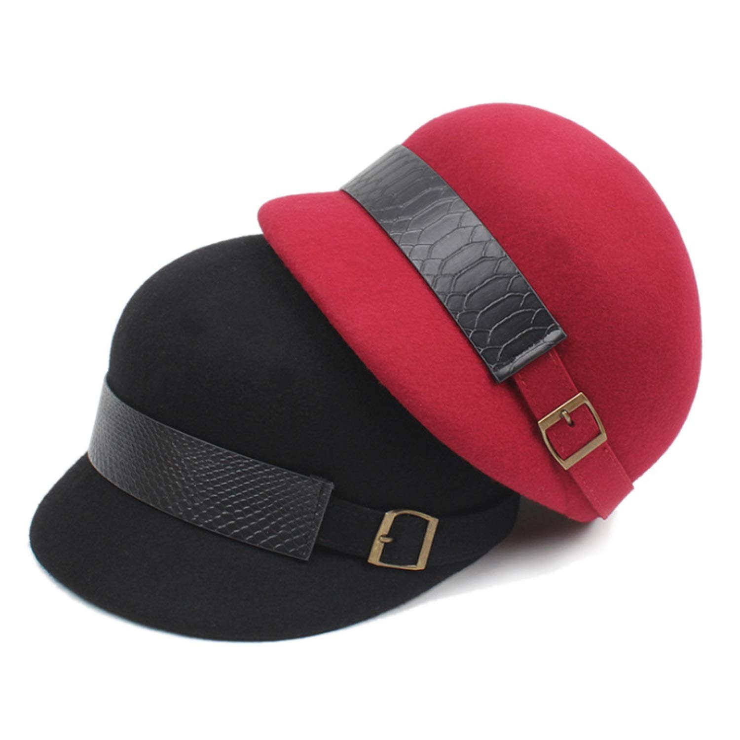 Sombrero Invierno Correa Ajustable Gorra Retro Gorro Lana Negro, Bellet (Color : Negro, Lana Size : Adjustable) 786e43