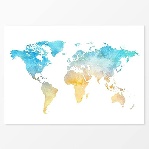 Watercolour World Map Poster Blue Yellow Print Size X X - World map to print a4