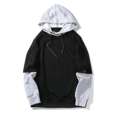 Bleuzee Sudaderas Hombre Hip Hop Long Sleeve Streetwear Patchwork Sweatshirts Loose Pullover black S