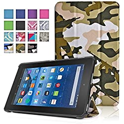 TNP New Fire 7 Case (Camouflage Army Green) - Ultra Slim Lightweight Folding Folio Cover Stand with Hard Rubberized Back for Amazon New Fire 7 Inch (5th Generation) 2015 Release Tablet