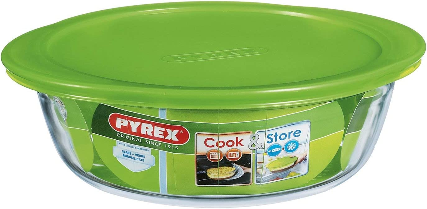 Pyrex Cook & Store Glass round Dish high resistance with lid 26x23x8 cm 2,2L