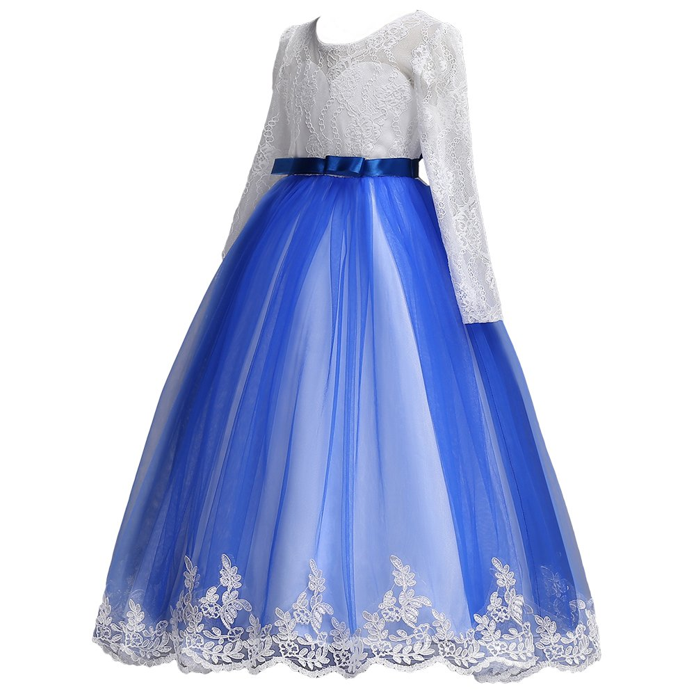 Amazon.com: IBTOM CASTLE Little Big Girls Lace Applique Dress Ball Gown Wedding Bridesmaid Party Fall Princess Long Sleeve Tulle Dance: Clothing