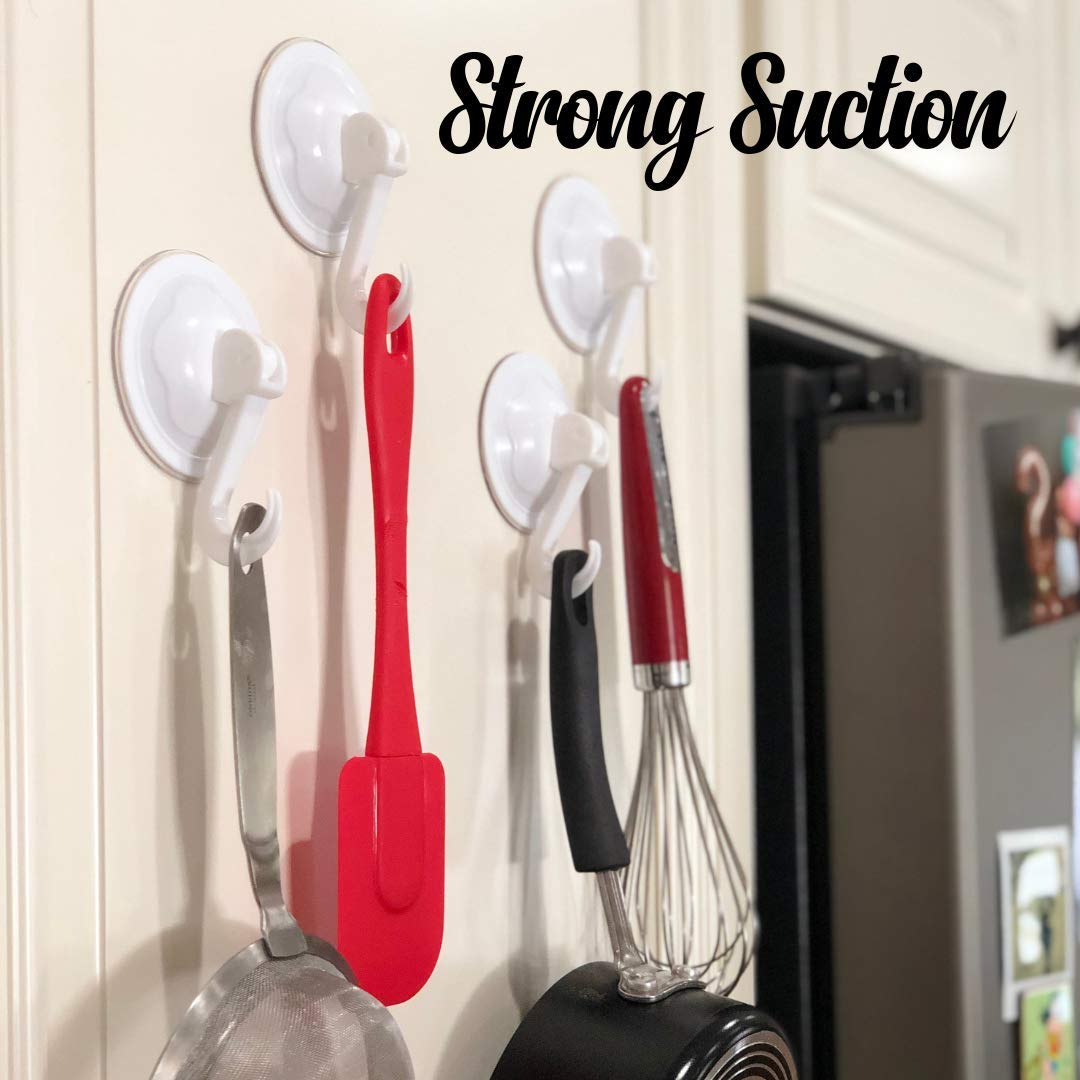 Windows 4- Pack Zipganizer Premium Multi-Use Suction Cup Hooks! - Sticks to Showers Mirrors White Cabinets /& More! Bathtubs