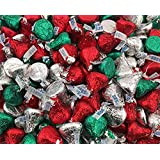 Hersheys Kisses Milk Chocolate, Christmas Edition, Red Green Silver Foils (Pack of 2 Pound)