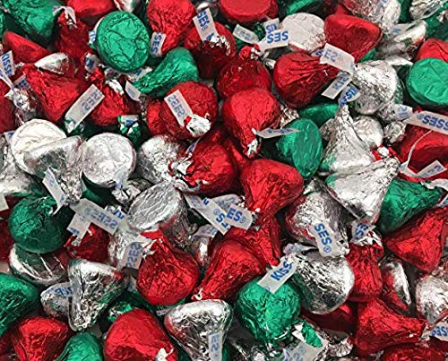 Kosher Chocolate Hersheys (Hersheys Kisses Milk Chocolate, Christmas Edition, Red Green Silver Foils (Pack of 2 Pound))