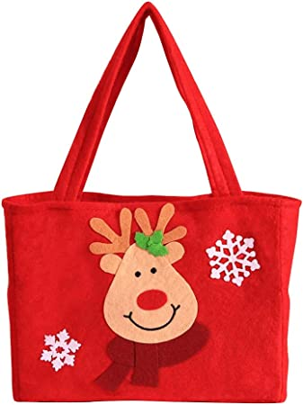 Christmas Bag Wedding Party Gift Handbag Party Favors Christmas Decoration Bag for Apple Candy Gift Home Party 3 Pack(12.99 x 9.05in-Deer)