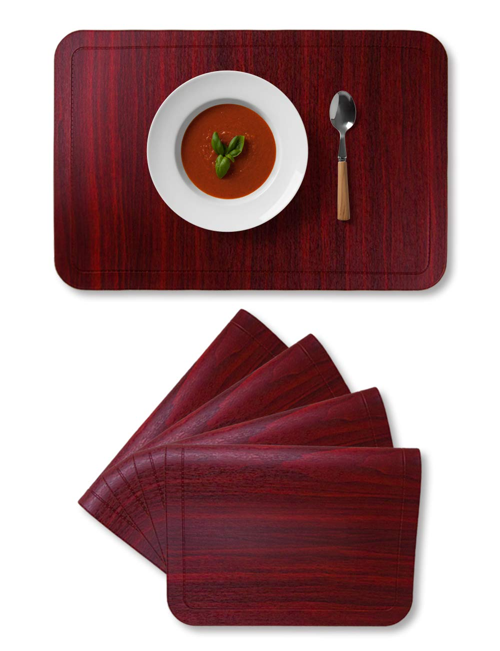 Alpiriral Dining PlaceMats Set of 4 Heat Resistant PlaceMats Easy to Wipe Off Scrub Vinyl Place Mats Washable Table Mats Protect A Table from Messes & with A Nice Looking in Cherry Red