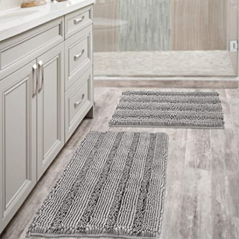 Bath Rugs for Bathroom Slip-Resistant Shag Chenille Bath Rugs Mat Extra Soft and