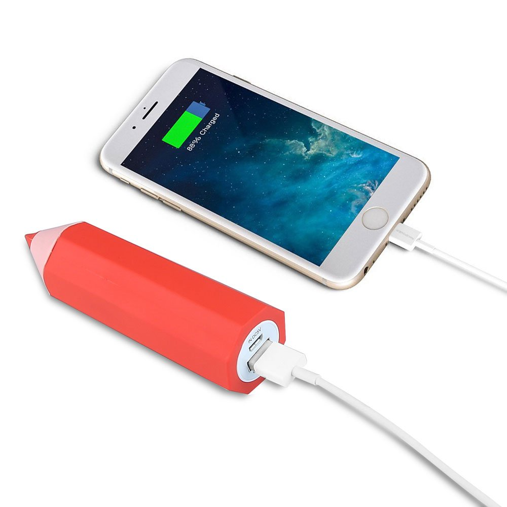 Portable Power Bank, 2600mAh Universal-Compact External Battery Multi-Port USB Chargers for iPhone, iPad, Smartphones and Tablet (Red School Pencil Design)