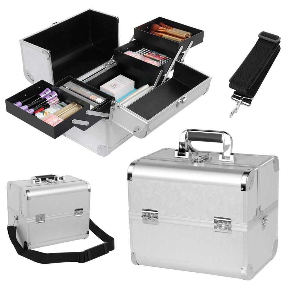 Yaheetech Beauty case en aluminium vanity valise maquillage boîte à outil argent 31cm x 20cm x 28cm