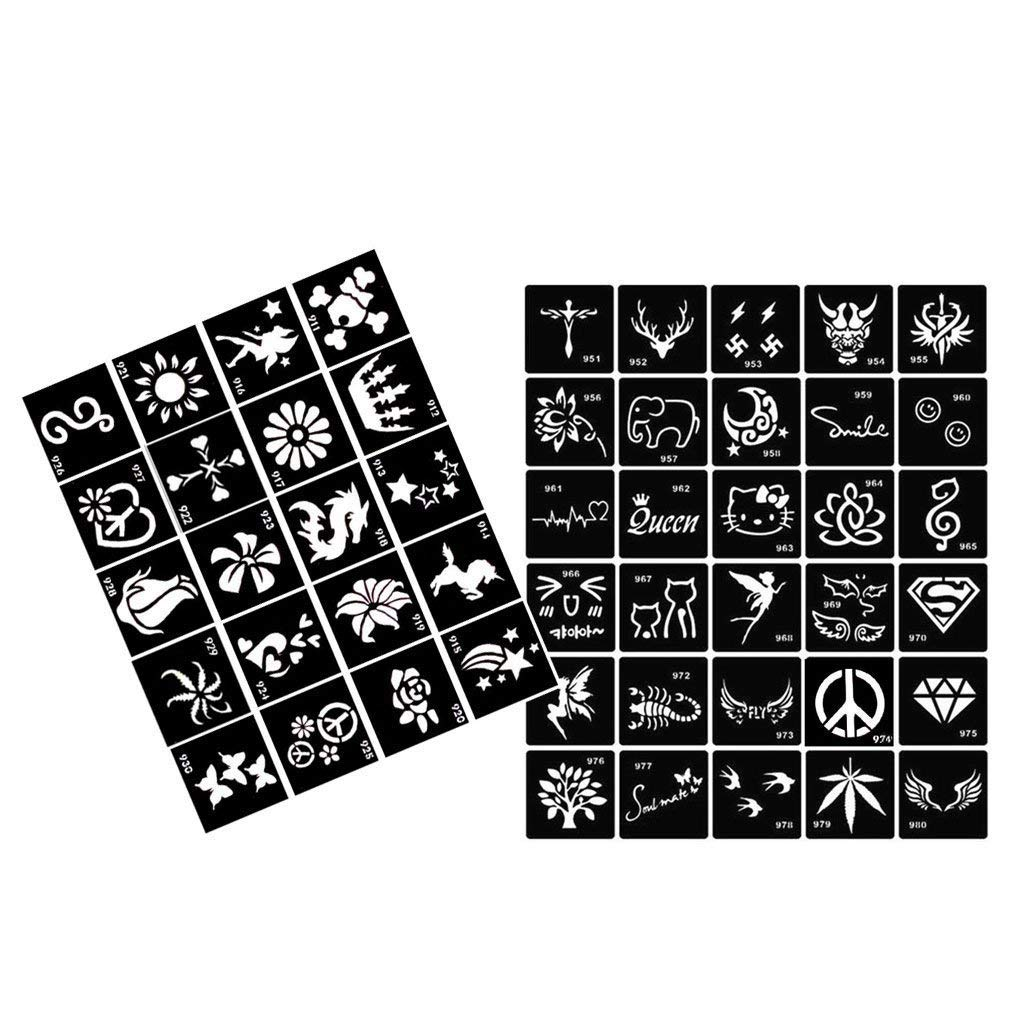50pcs Tattoo Stencil Multiple Design Body Art, Formemory Temporary Tattoo Template for Women, Kids and Men