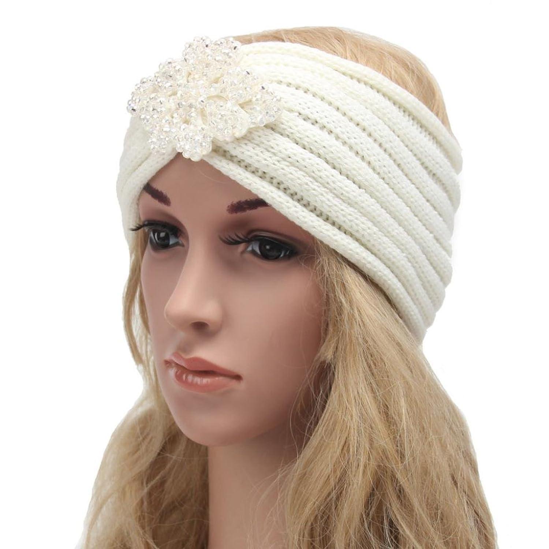 Tuscom Women Bohemia Diamond Knitting Handmade Warm Hairband