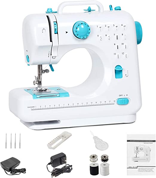 Sewing Machine 12 Stitches for Beginners Adult,Electric Household Portable Mini Mending Machine Art Craft with Free Arm Extension Table lamp Foot Pedal Double Speed for Home Travel use diyer